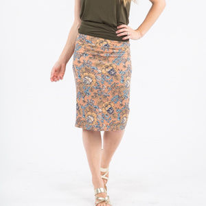 Pencil Skirt I Got You Babe Floral Blush and Gold